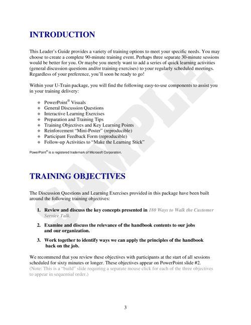 180 Ways to Walk the Customer Service Talk UTrain Program (Downloadable)