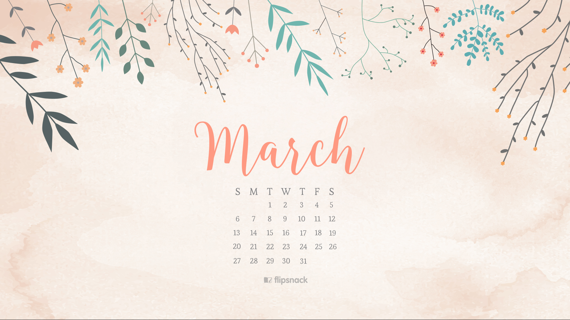 March 2016 Free Calendar Wallpaper Desktop Background