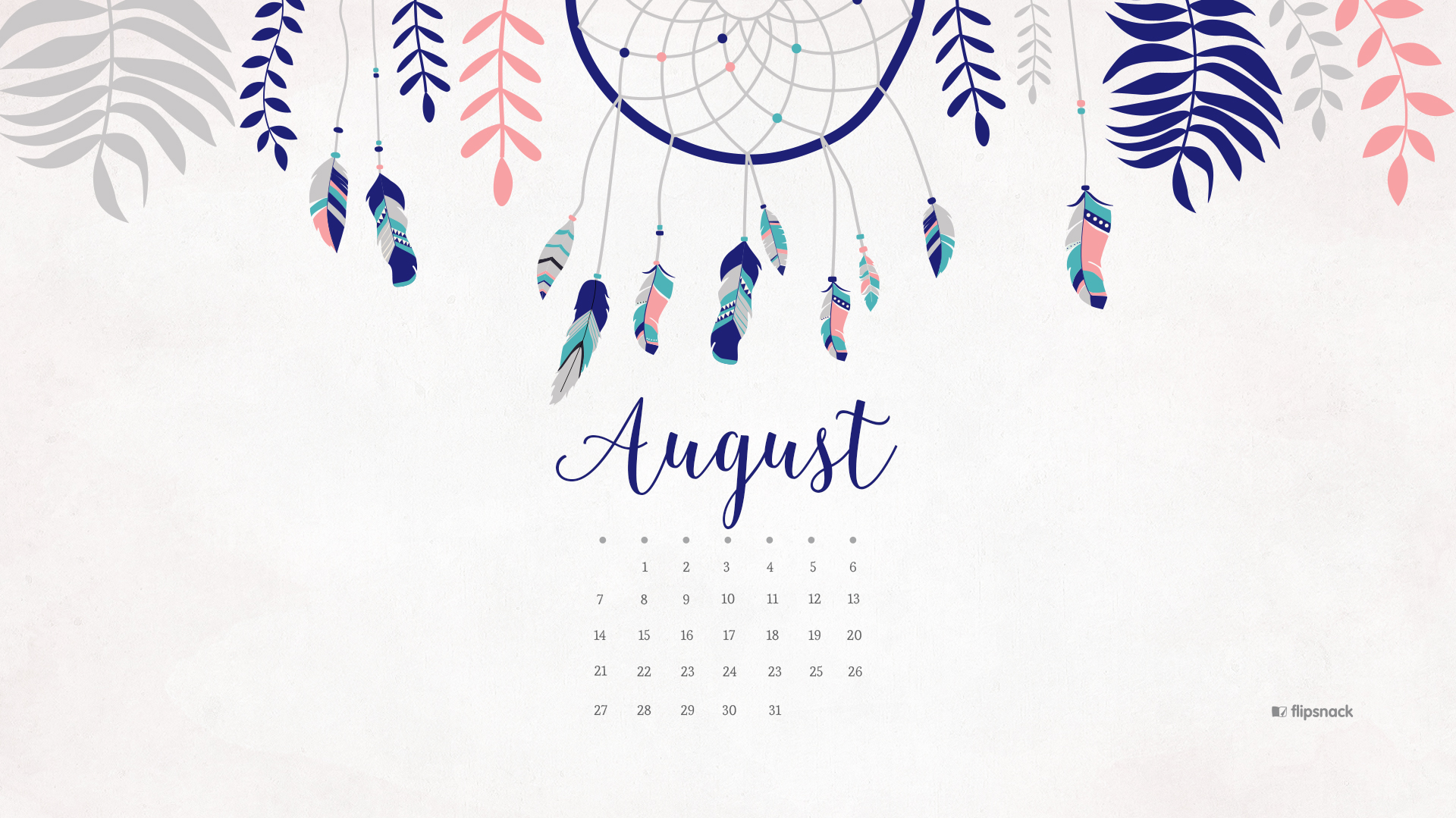 Calendar Computer Wallpaper : August free calendar desktop wallpaper