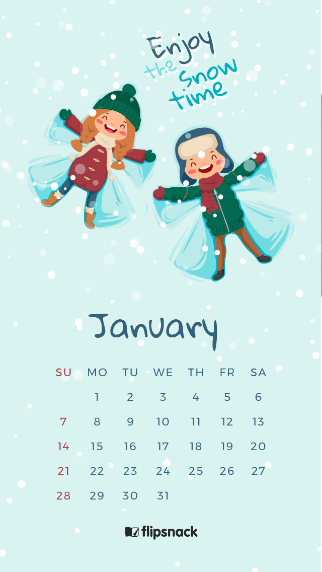 January 2018 calendar wallpaper for desktop background