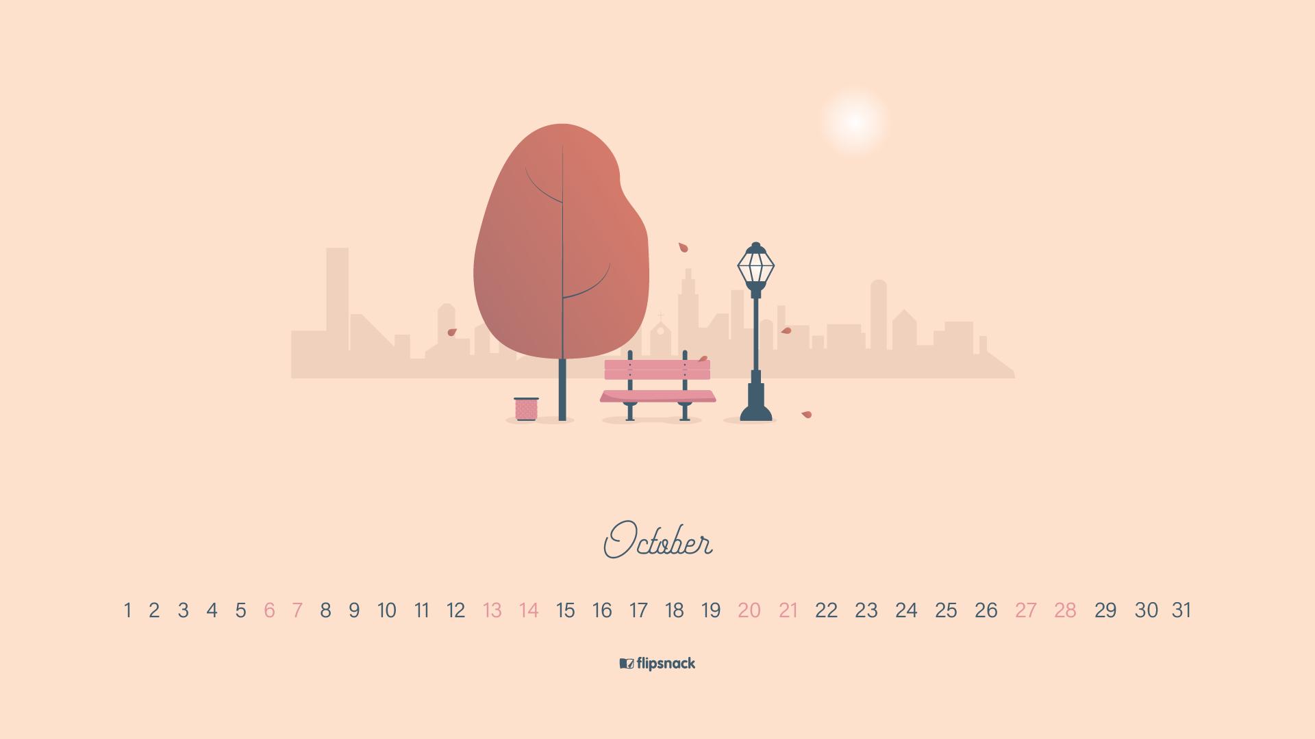 October 2018 wallpaper calendar for