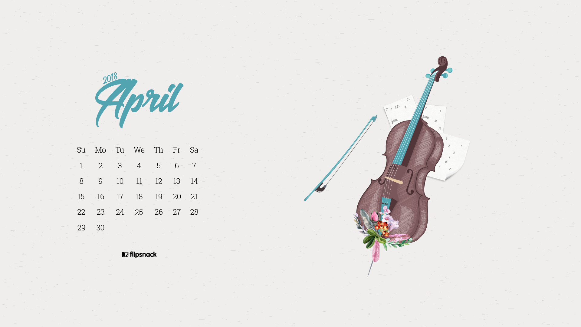 April 2018 wallpaper calendar for desktop background