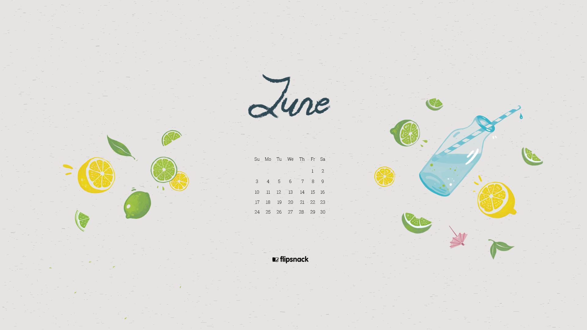June 2018 wallpaper calendar for