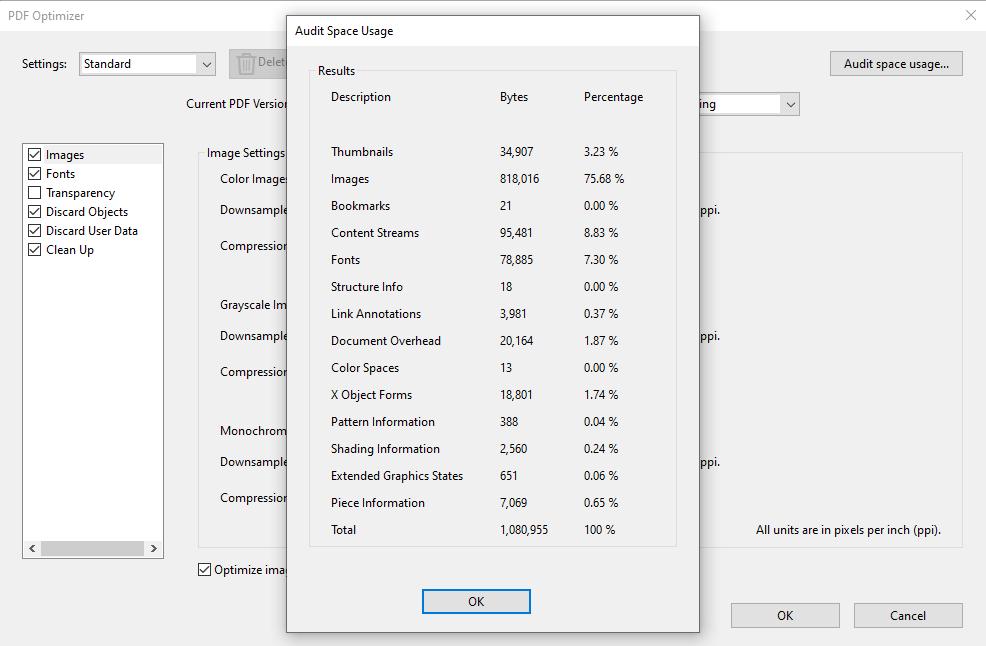 audit space usage