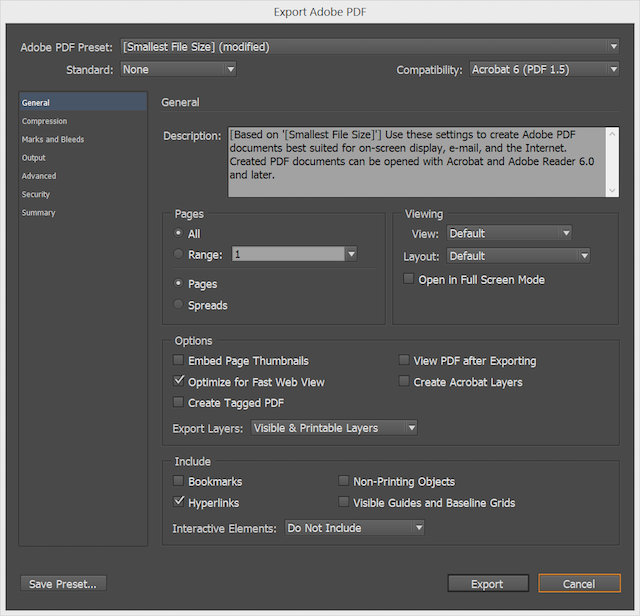 How to export from InDesign to web PDF