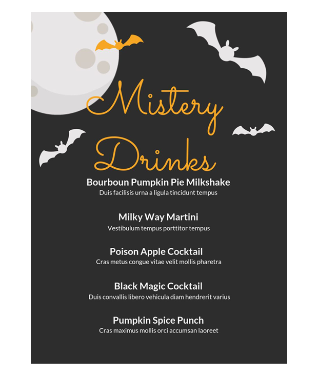 halloween drinks menu template
