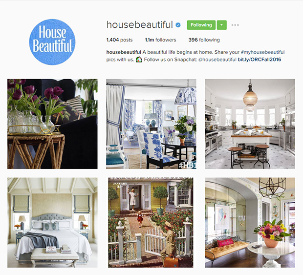 25 publishers to follow on instagram and why House beautiful account