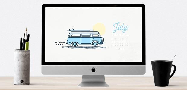 July 2017 calendar wallpaper for desktop background