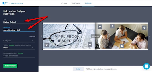 publish flipbook