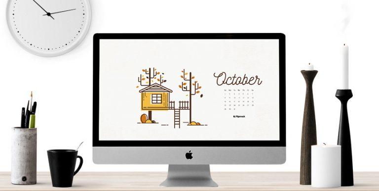 October 2017 calendar desktop background