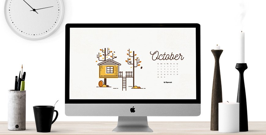 October 2017 calendar desktop background