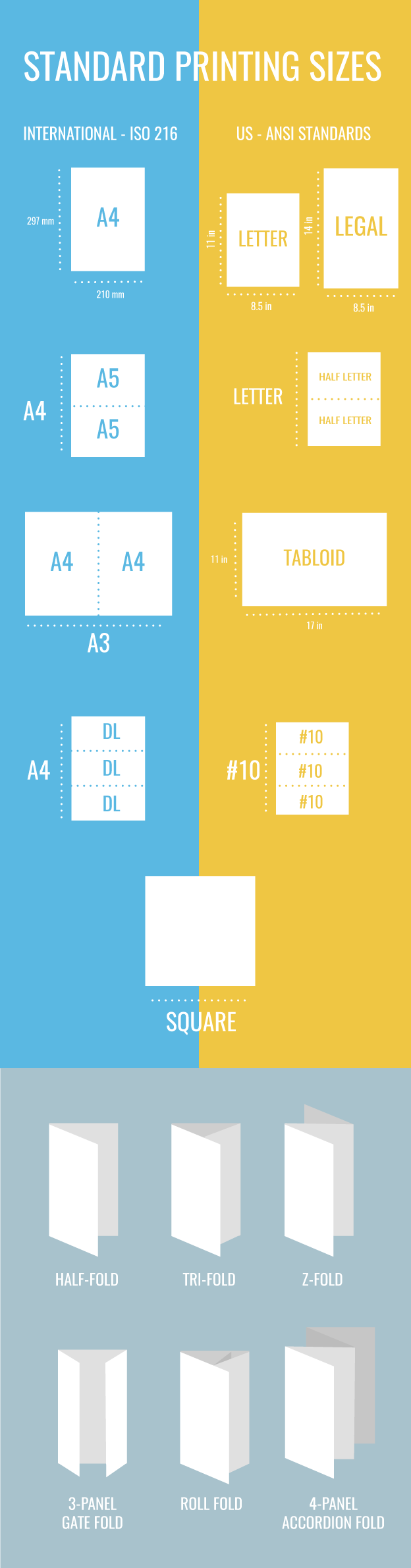 standard brochure sizes for print