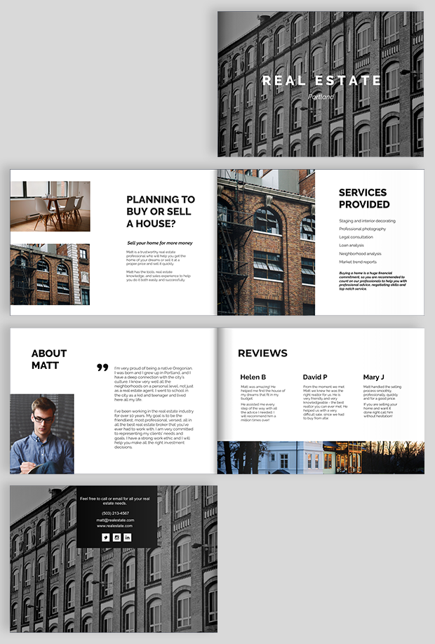 Real estate brochure design templates and ideas for Personal brochure templates
