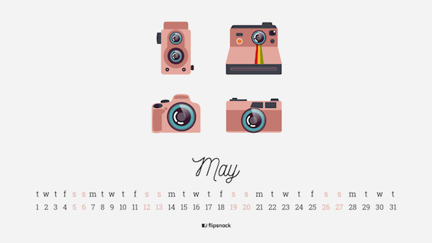 May 2018 calendar photographer