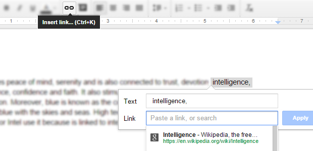Google Docs add link