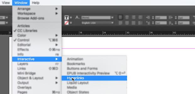 InDesign add hyperlink