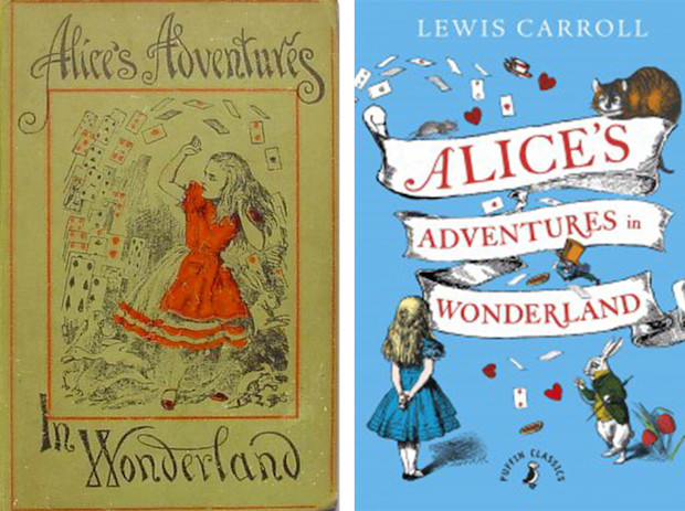 Alice In Wonderland Classic Book Cover : Comparison of old new book cover designs classic novels