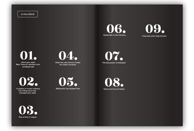 double page table of contents