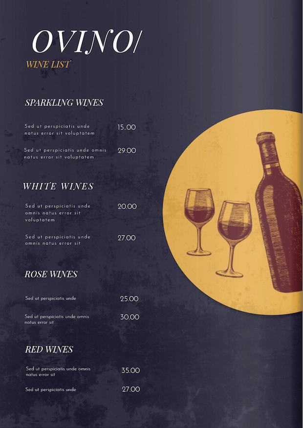 Wine bar menu template