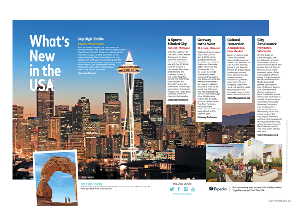 USA travel brochure example