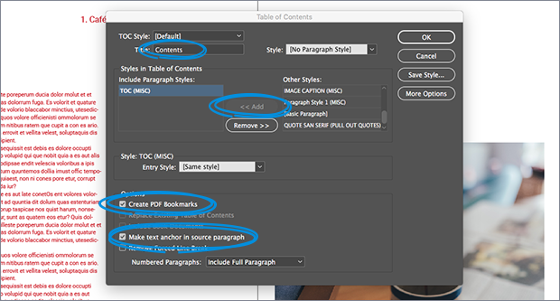 table of contents settings InDesign