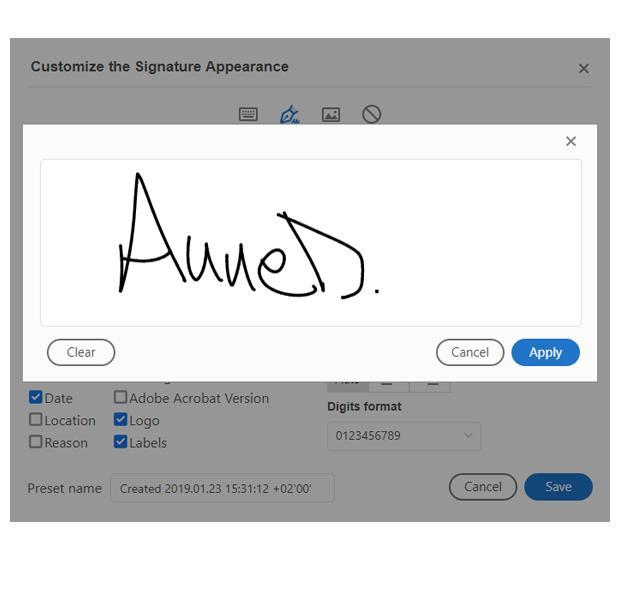 Adobe acrobat pdf signature