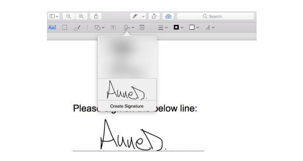 PDF signature on macbook