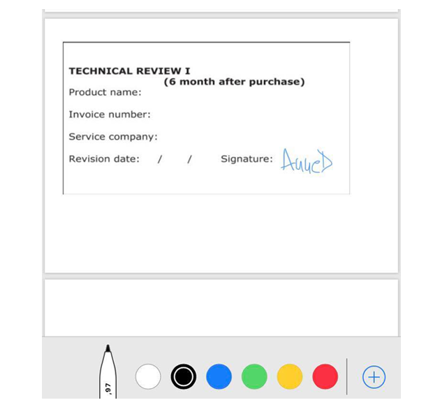 PDF signature color on iphone and ipad