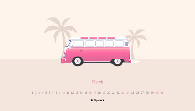 free march 2019 wallpaper calendar van