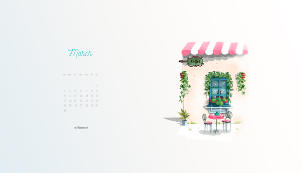 free march 2019 wallpaper calendar landscape