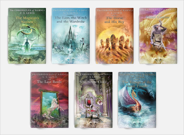 the chronicles of narnia book cover series design