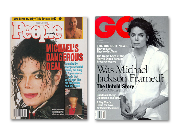 Michael Jackson through magazine covers People and GQ magazine