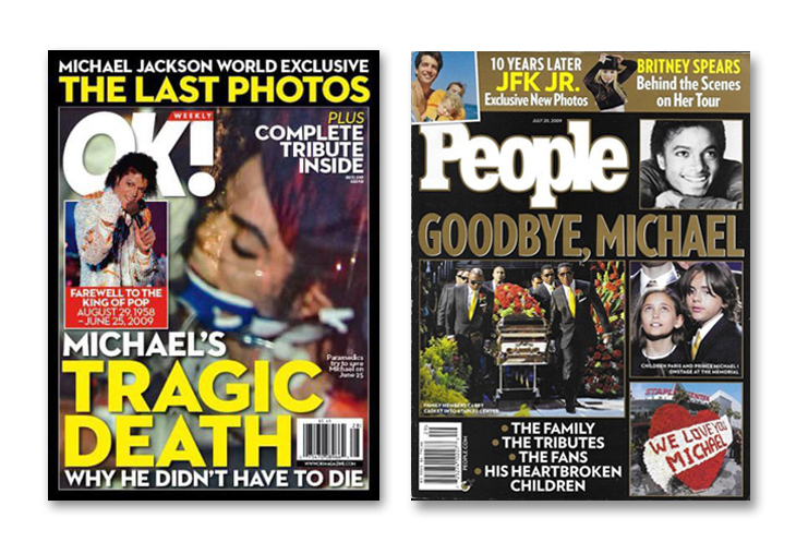 Michael Jackson through magazine covers death