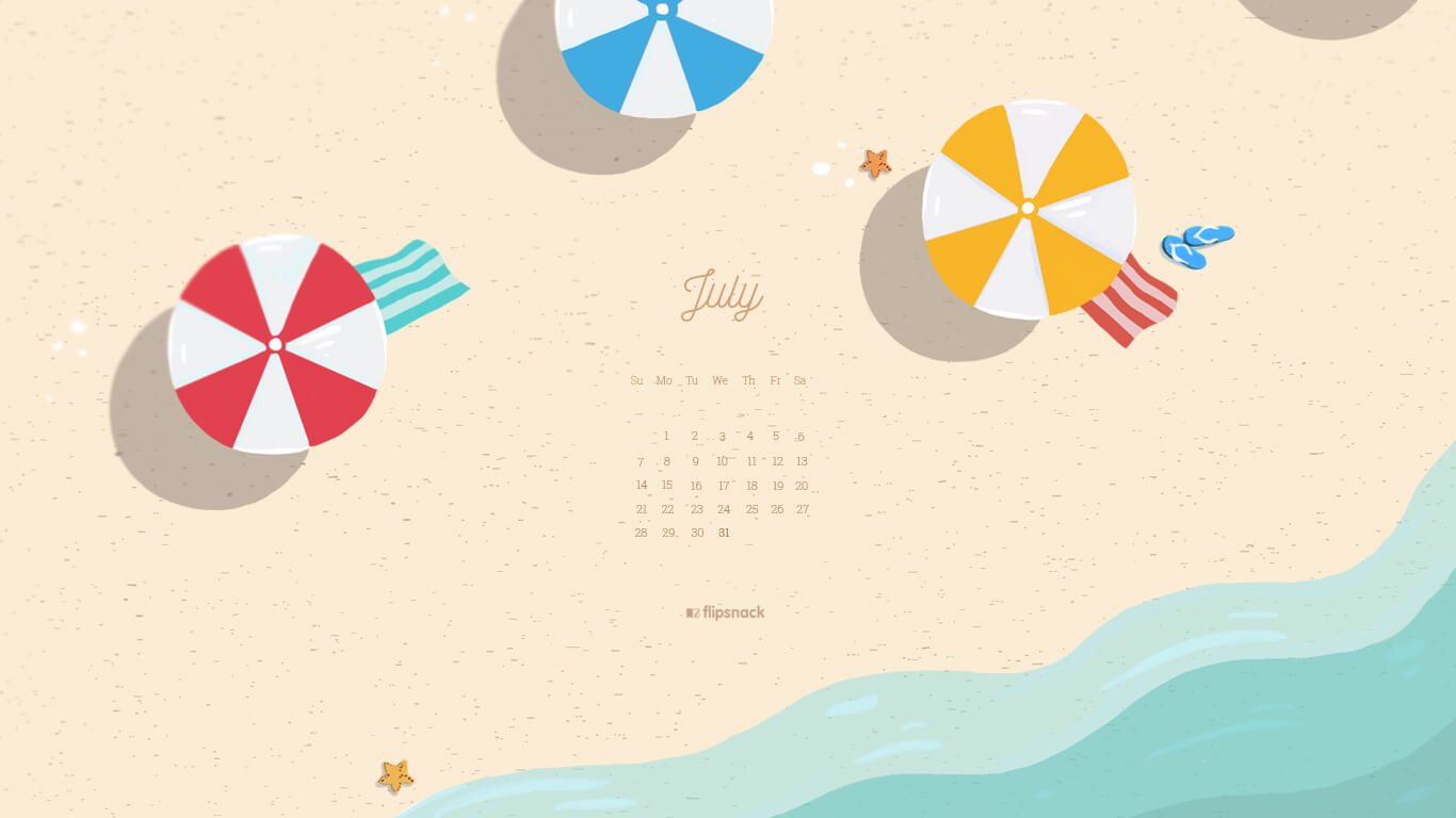 free july wallpaper calendar