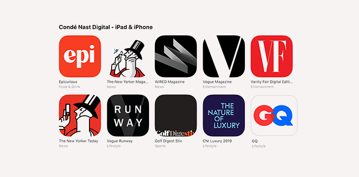 mobile apps for publishers - conde nast apps