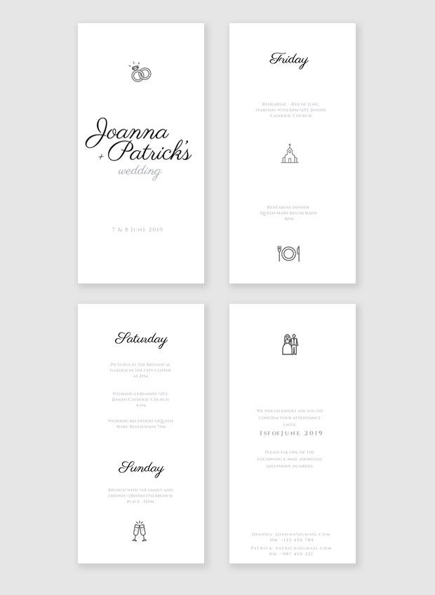 wedding itinerary template
