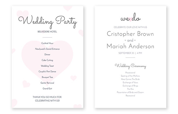 wedding program fan template
