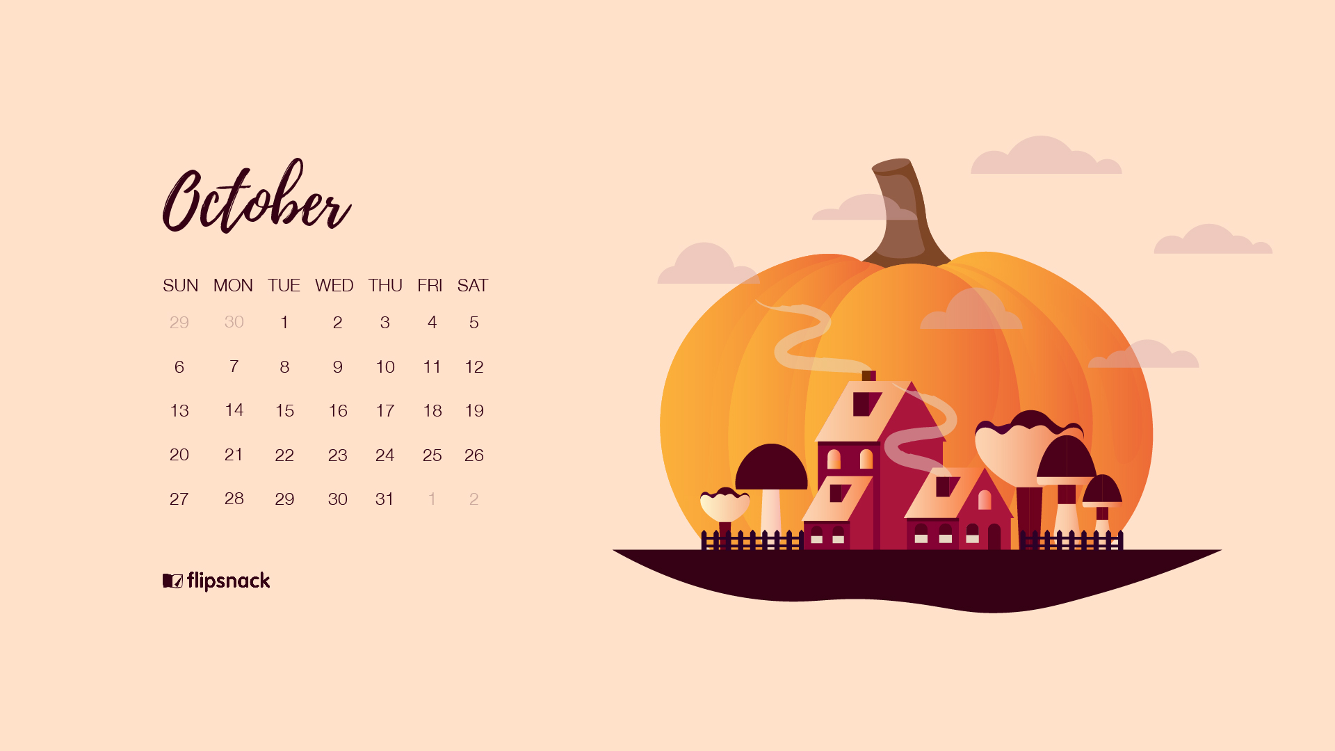 halloween wallpaper calendar 2019