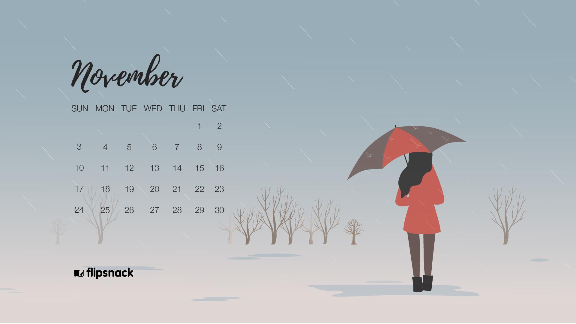 November 2019 wallpaper calendar rain