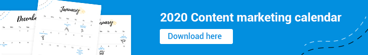 2020 content marketing calendar banner