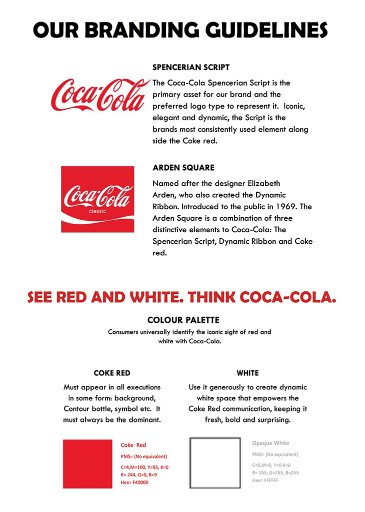 Brand guidelines example of Coca Cola