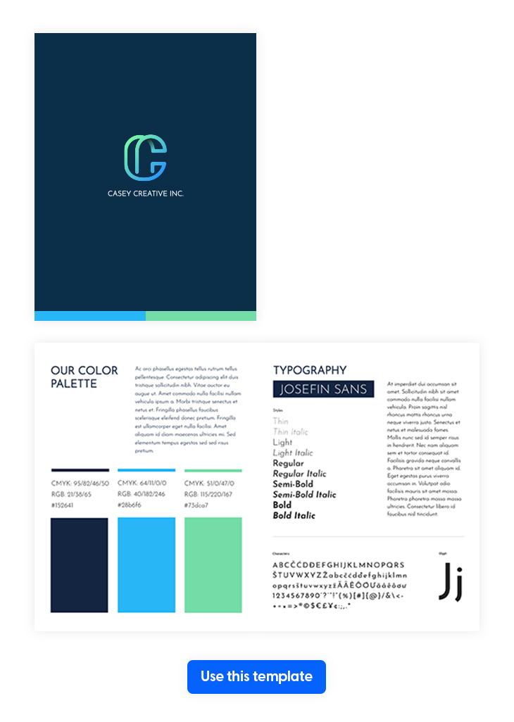 Modern Corporate Style Guide Template from Flipsnack