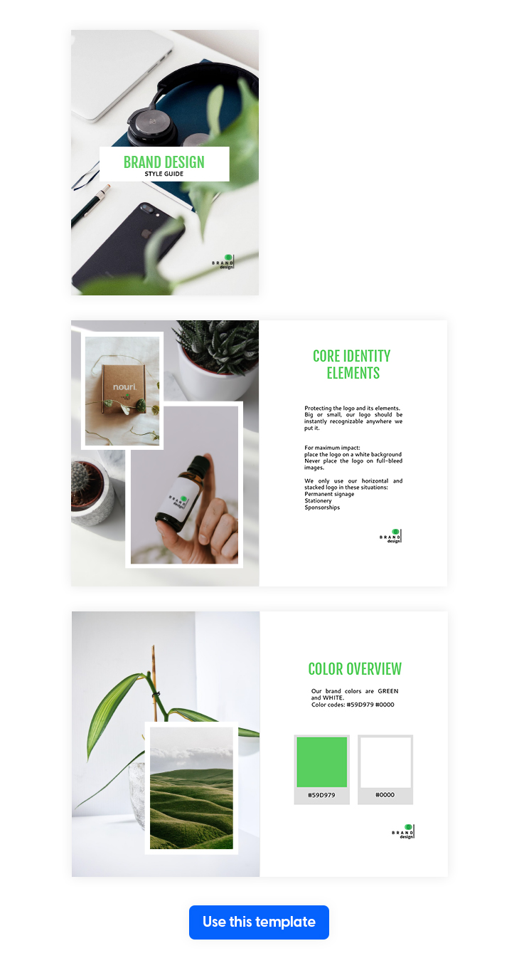 Elegant Design Style Guide Template from Flipsnack