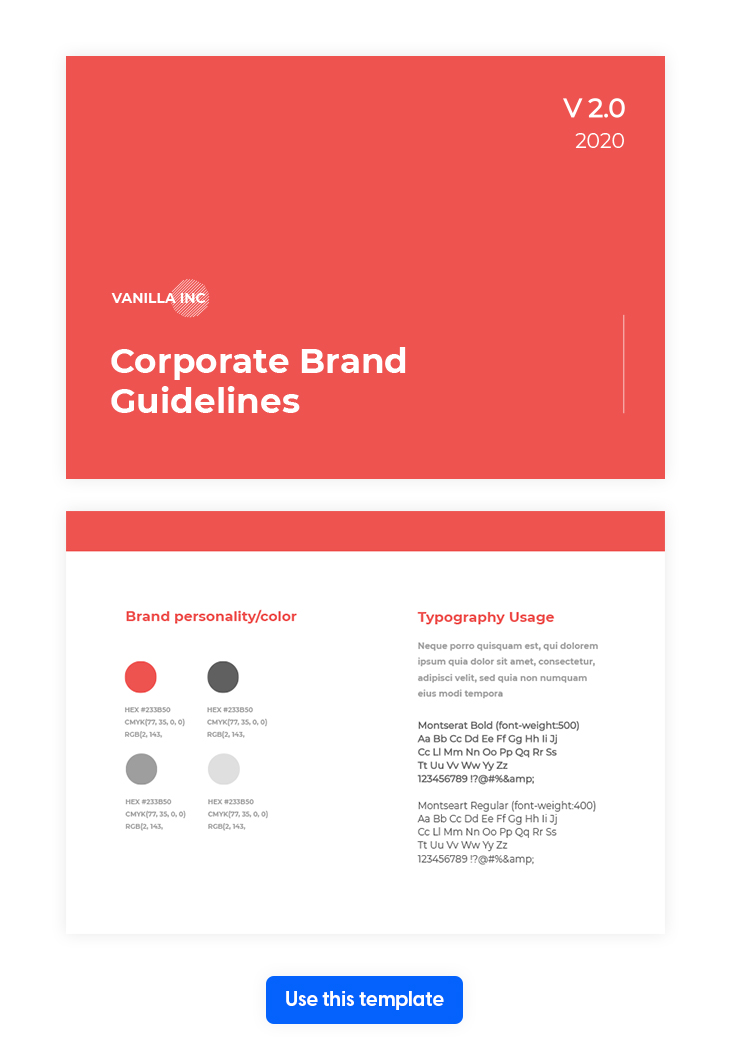 Modern Corporate Guidelines Template from Flipsnack