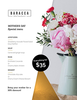 mothers day takeout menu
