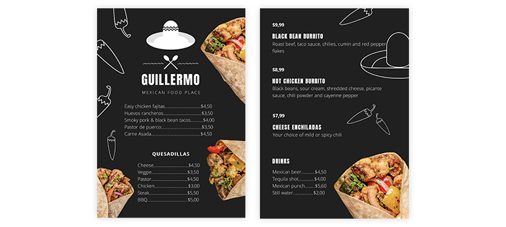 mexican take out menu template