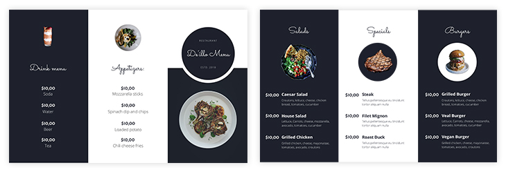 Printable Take-Out Trifold Menu Template