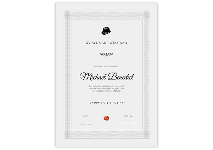 father's day certificate template