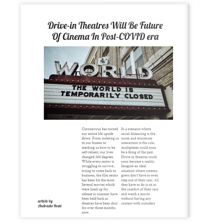 how to make a newspaper - Drive-in theatres article