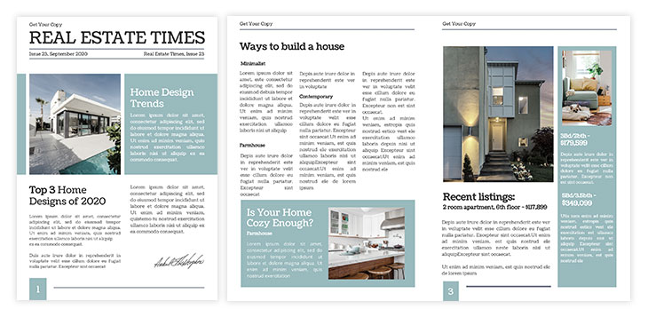 Elegant real estate newspaper template